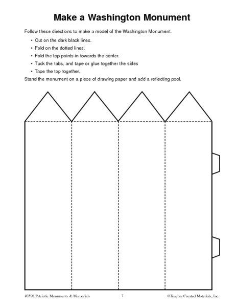 Make A Washington Monument Worksheet For 5th 6th Grade