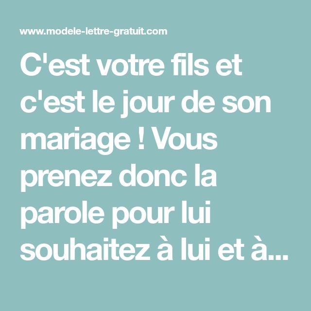 Discours D'une Maman Pour Le Mariage De Son Fils