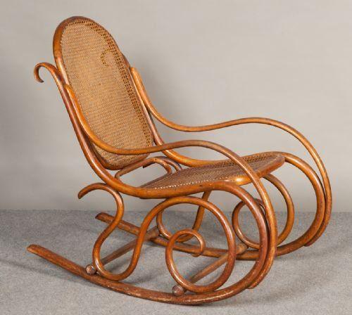 Antique Austrian Thonet Bentwood Rocking Chair 1870 - Antique Austrian Thonet Bentwood Rocking Chair 1870 Designers To