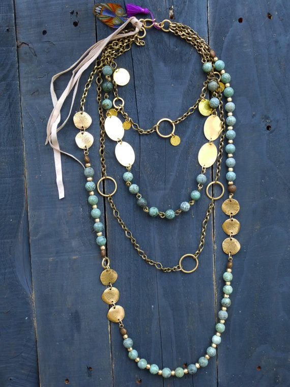 African turquoise and brass chain layering by BeadStonenSkin