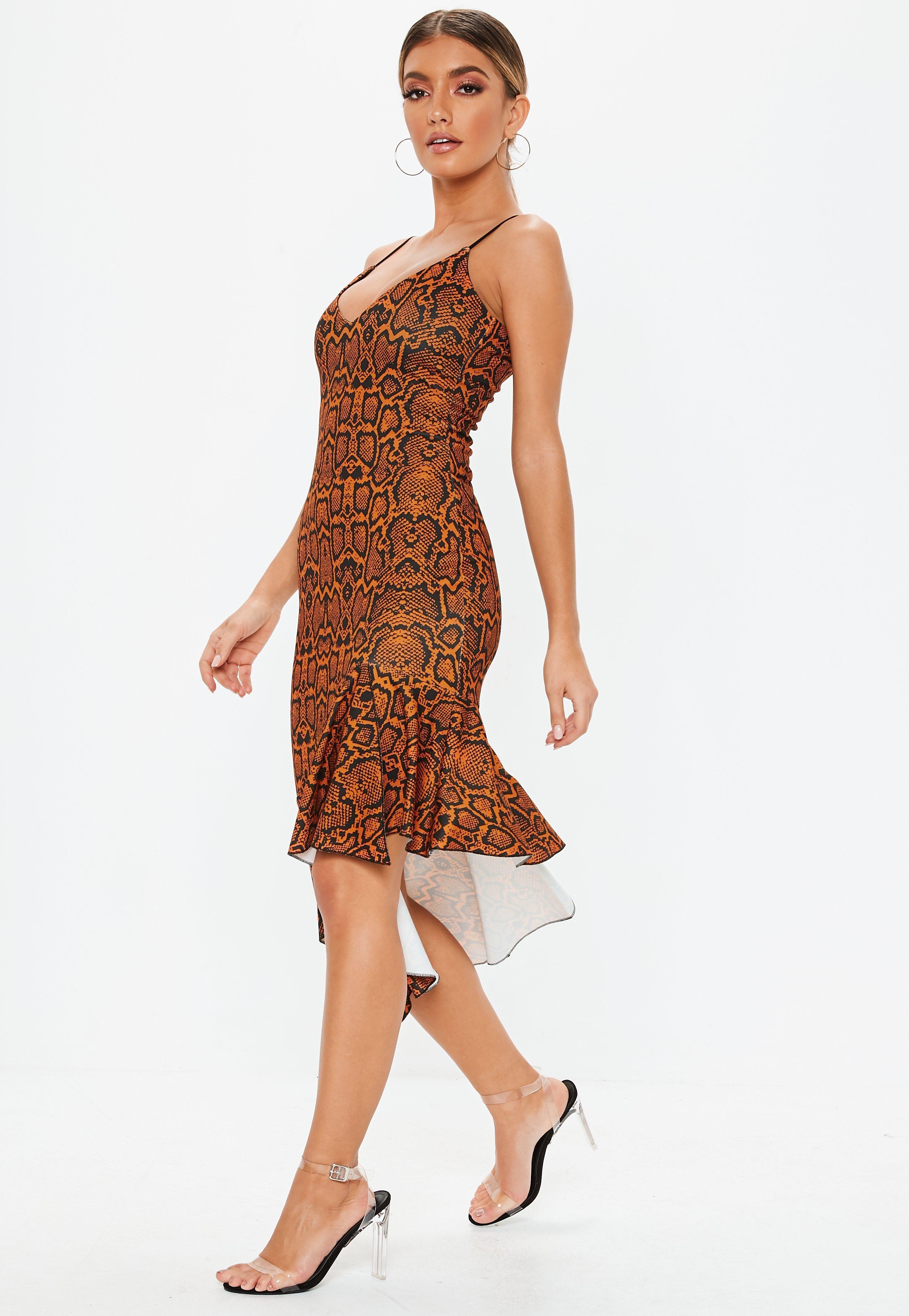 ab737cd90d7 Rust Animal Print Cami Frill Hem Midi Dress  Sponsored  Print