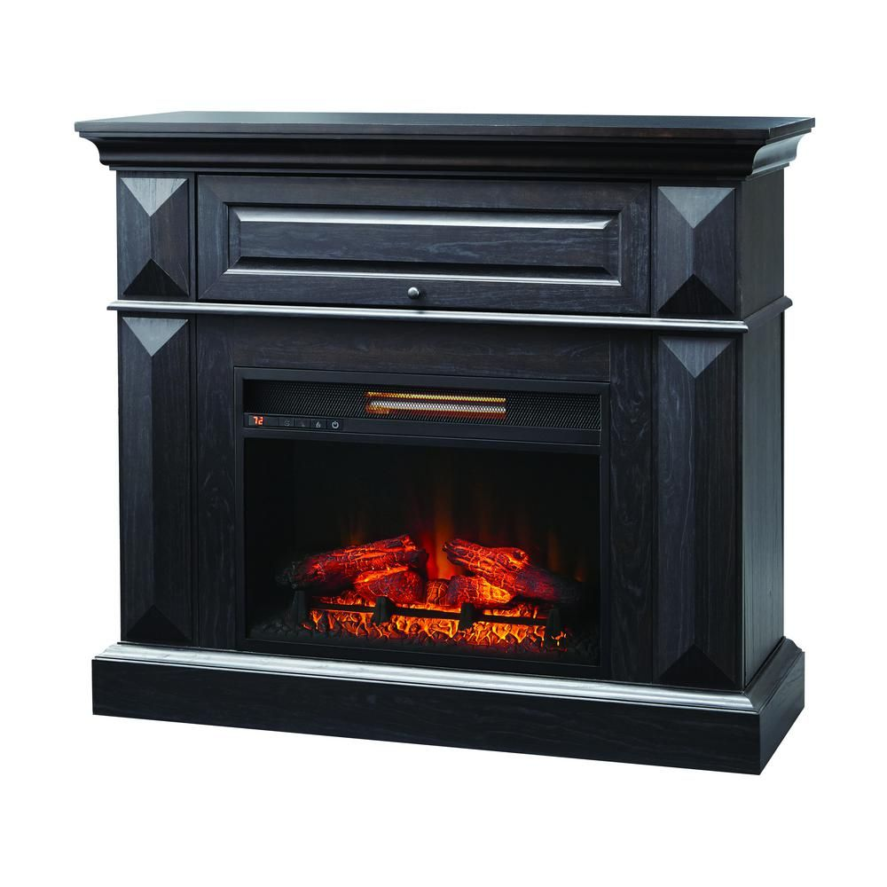 Home Decorators Collection Coleridge 42 In Mantel Console Infrared Electric Fireplace In Midnight Oak Home Decorators Collection Electric Fireplace Fireplace