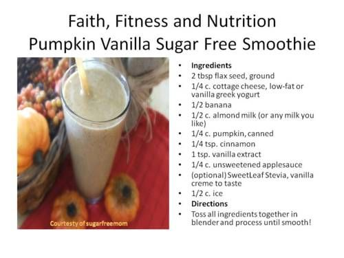 From Sugarfreemom.com a great sugarfree smoothie recipe put together for posting.