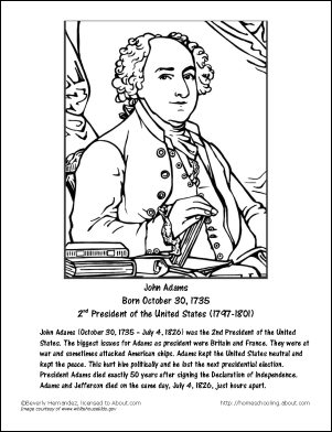 Learn about President John Adams with Free Printables