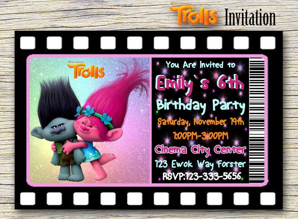 Trolls Movie InvitationTrolls Personalized Birthday Invitation Digital PrintableTrolls