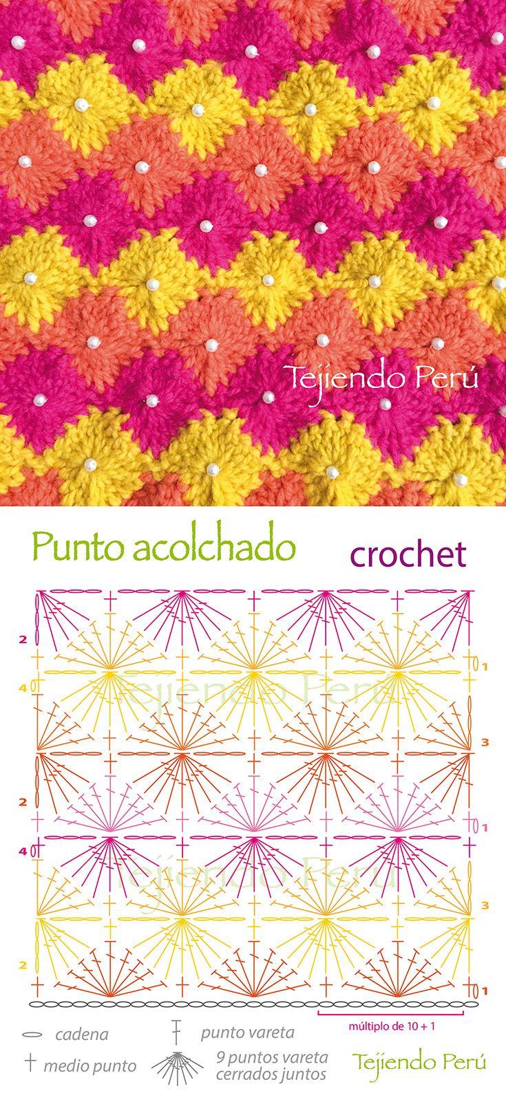 Crochet: diagrama del punto acolchado! Con una perla en cada rombo ...