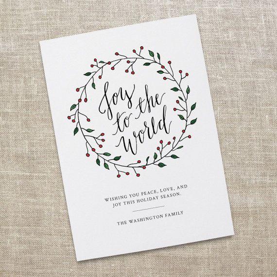 Joy to the world holiday card printable calligraphy