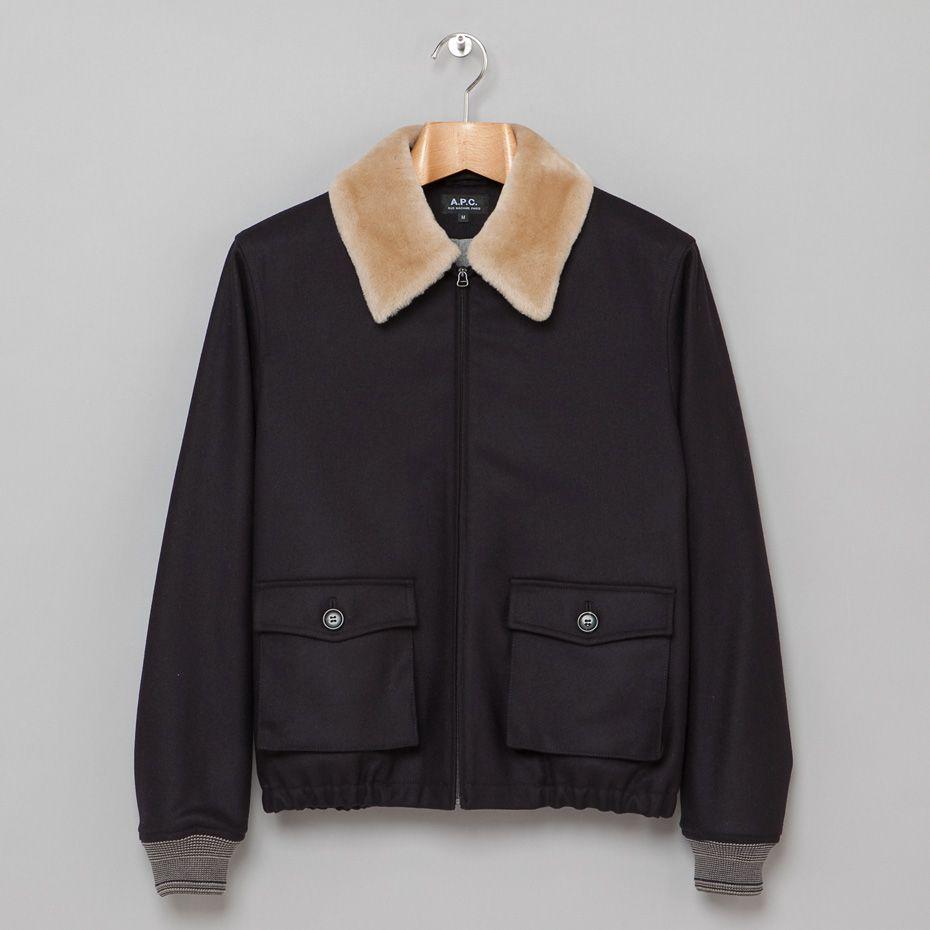 A P C Aviator Bomber In Navy Women S Blazer Outerwear Varsity Jacket [ 930 x 930 Pixel ]