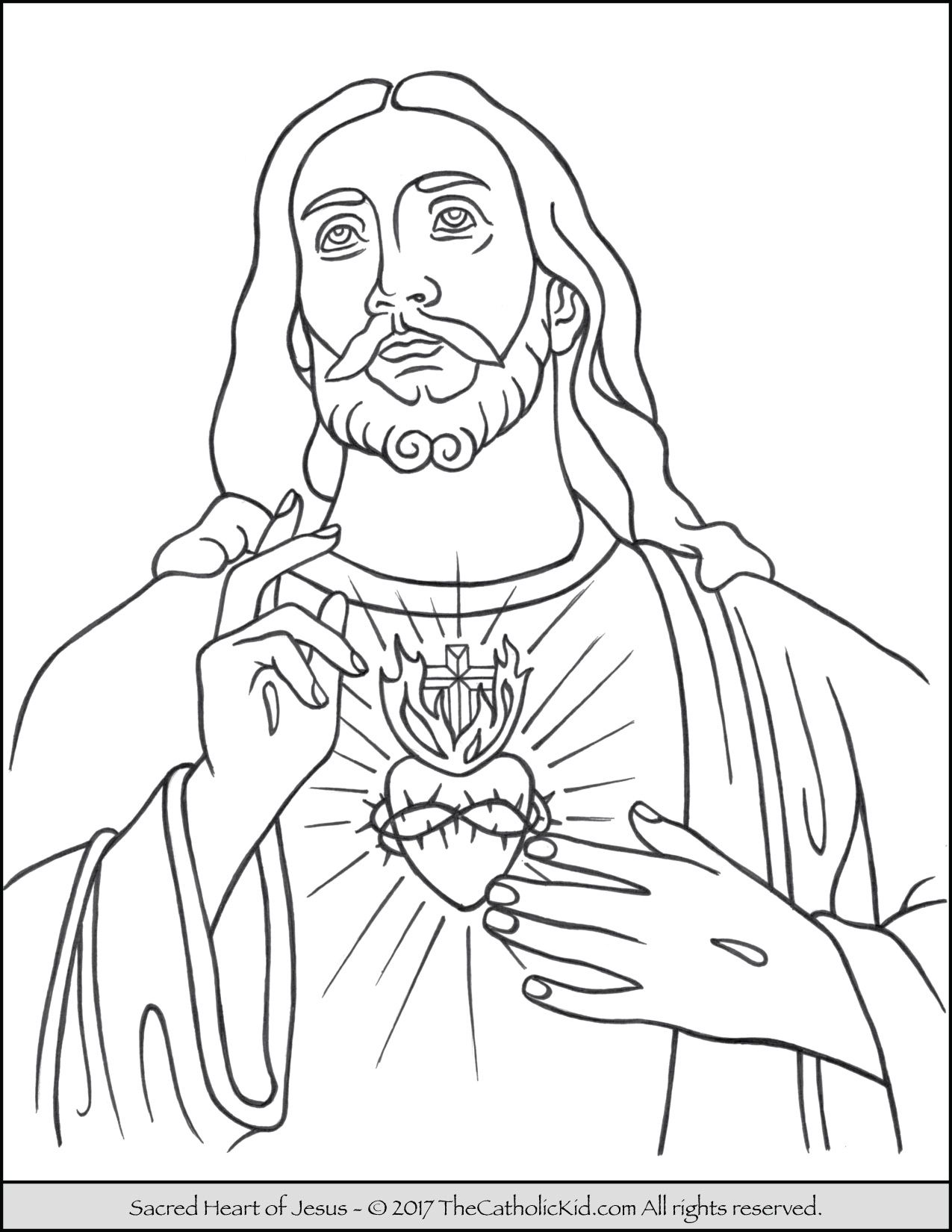 Sacred Heart Of Jesus Coloring Page Thecatholickid Com Jesus