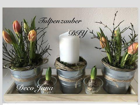 Diy Fruhlingsdeko Tischdeko Mit Tulpen Deco Jana Youtube