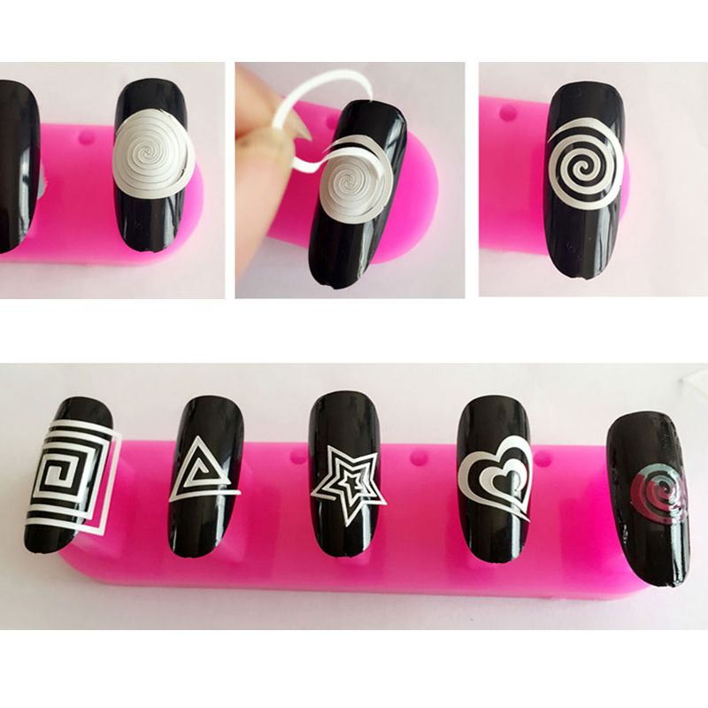 Nails Sticker Nail Art Decals French Manicure Form Fringe Tips Guide ...