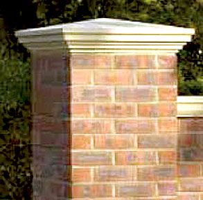 Brick Pillar Caps Google Search Brick Wall Gardens Brick Columns Brick Fence