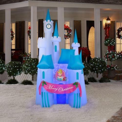 8ft-Inflatable-Disney-Cinderella-Castle-Christmas-Outdoor-Decor - disney christmas yard decorations