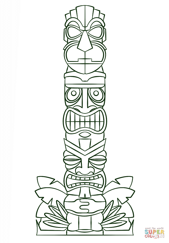 tiki tribal pole coloring page  free printable coloring