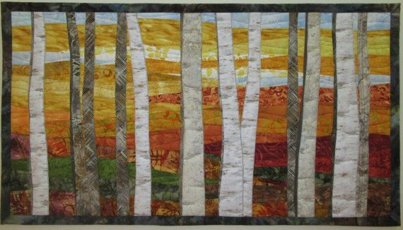 Art Quilt Landscape Birch Trees 6 in Fall by ArtQuiltsBySharon