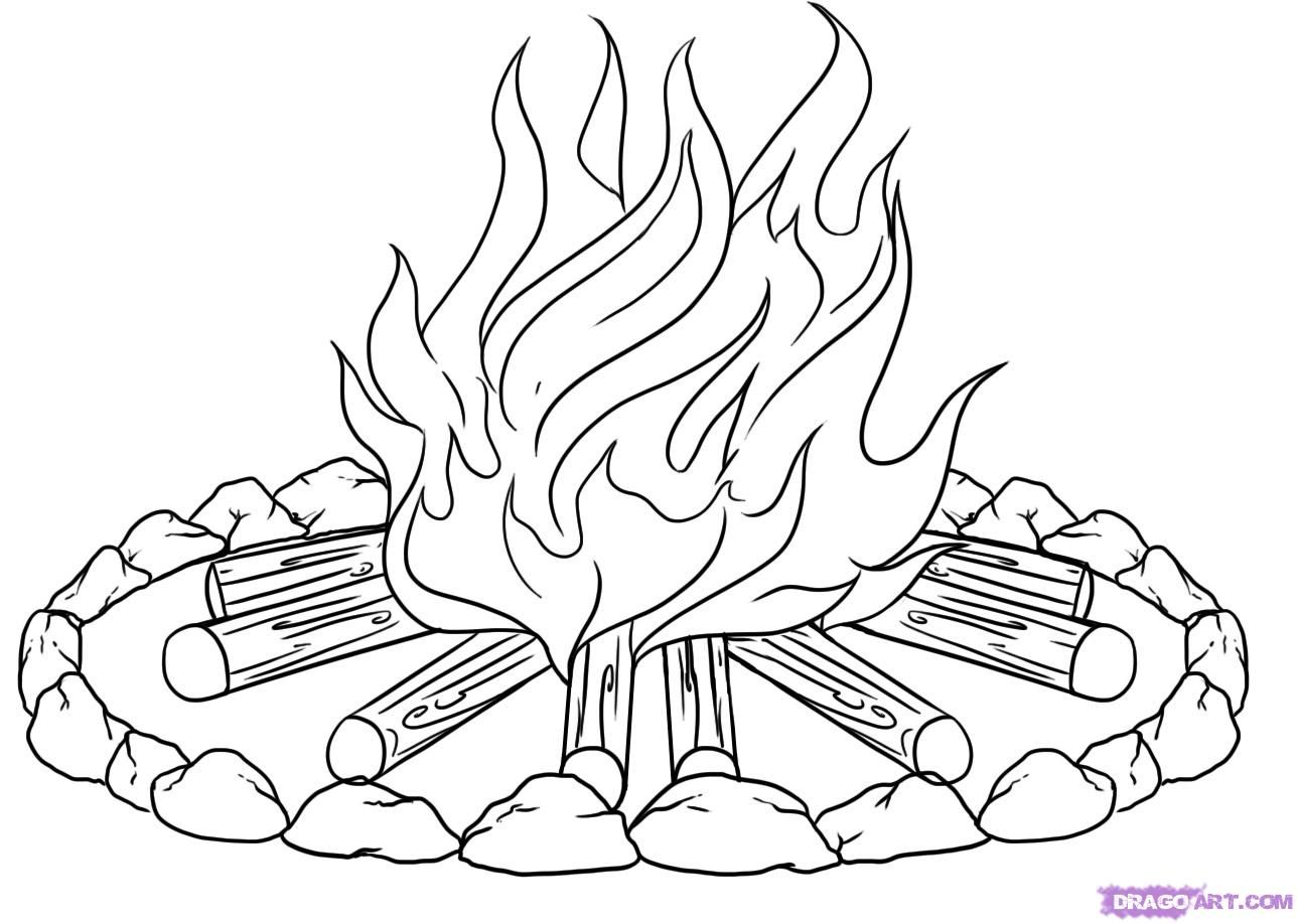 Campfire Pictures To Color How To Draw A Campfire Step 6 Campfire Drawing Campfires Pictures Camping Coloring Pages