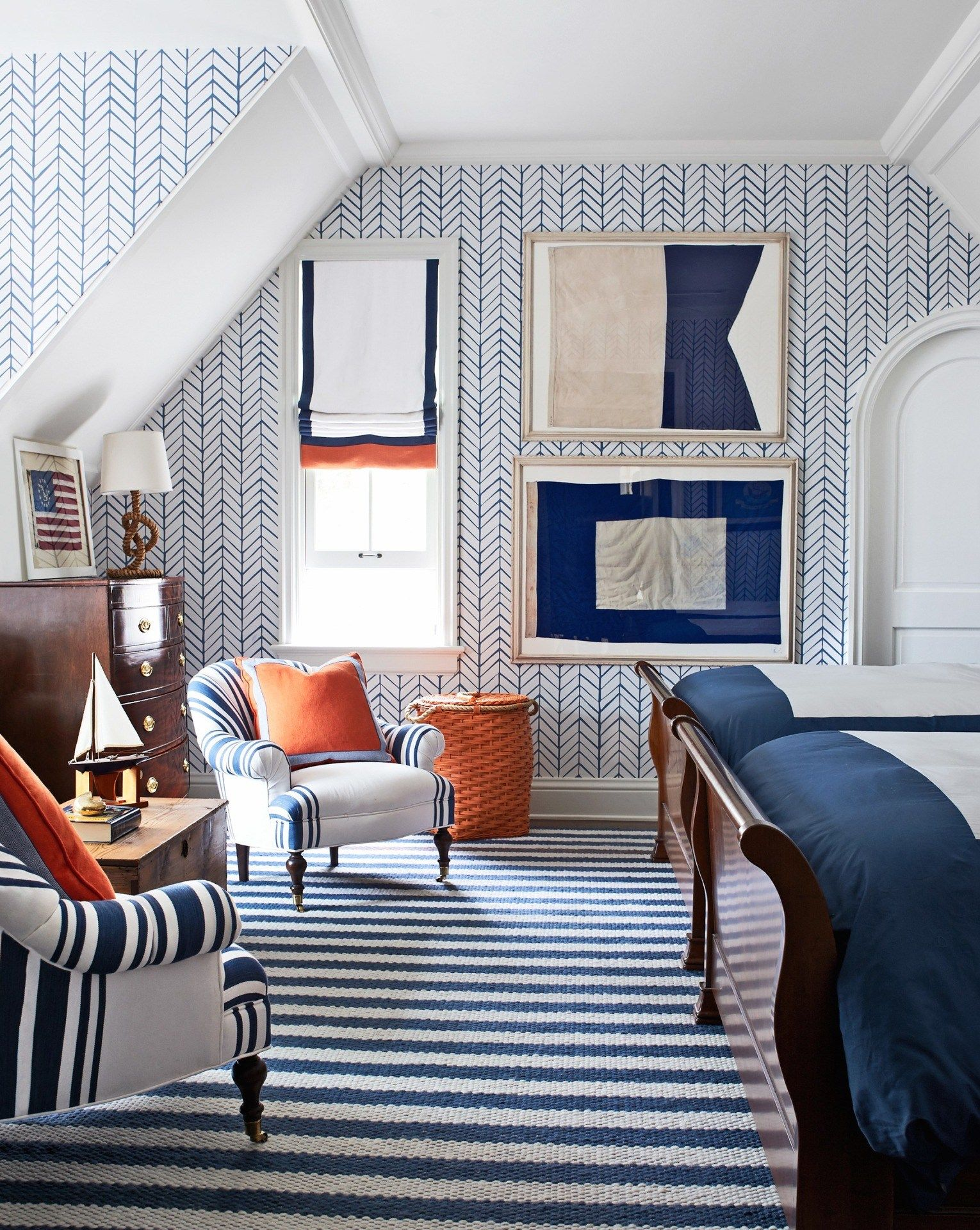A Texture Cobalt Blue And White Striped Rug Adds Flair