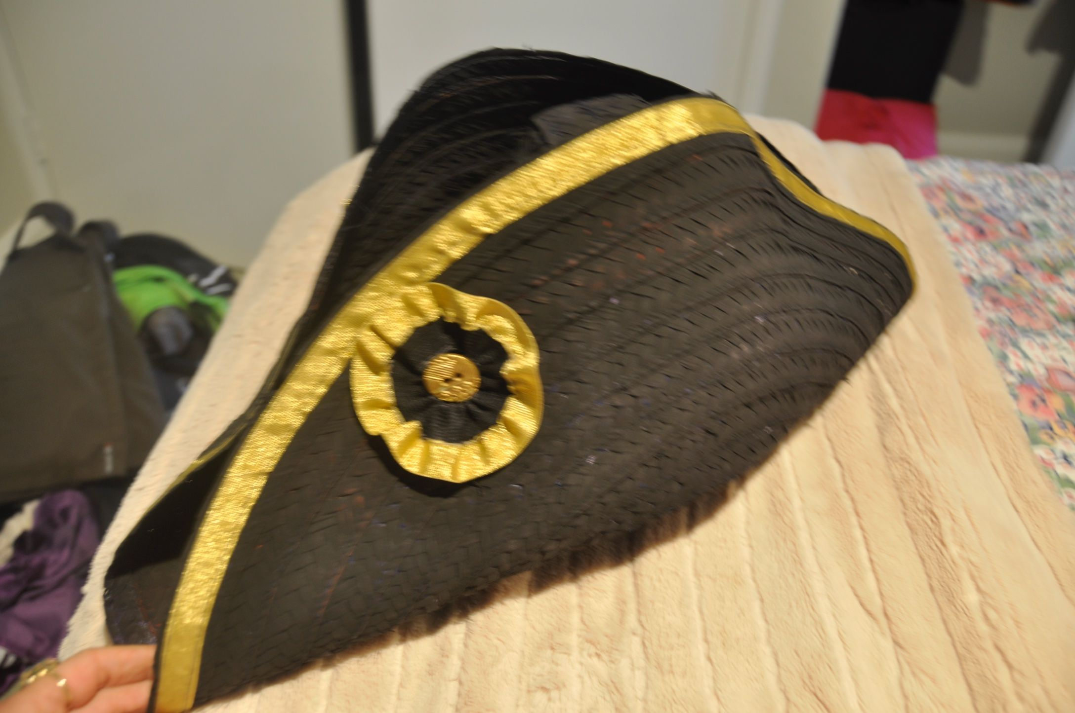 6e88ff75d93 British navy bicorn hat made from a painted and beribboned sombrero DIY make