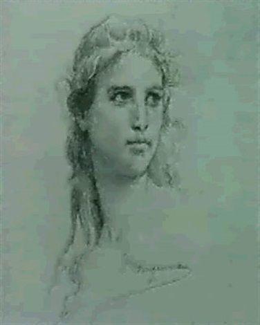 FILLETTE AUX CHEVEUX LONGS von William Adolphe Bouguereau