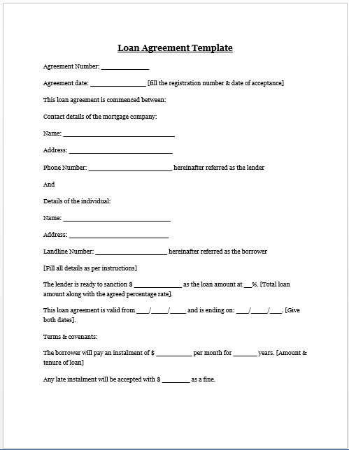 Loan Agreement Template Microsoft Word Templates Private