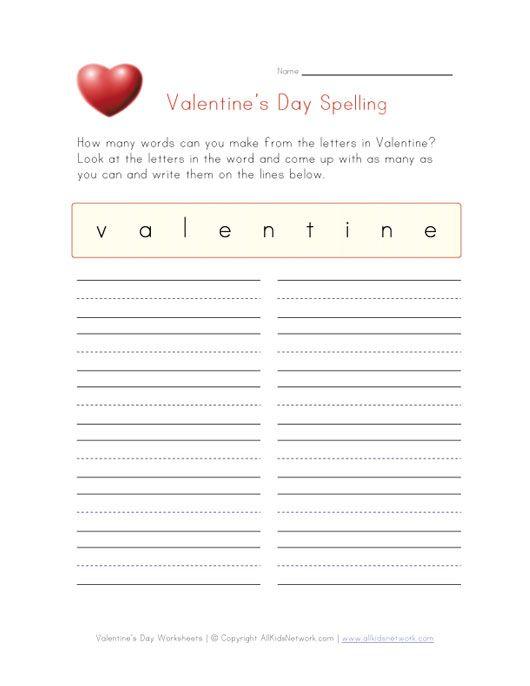 valentines spelling worksheet
