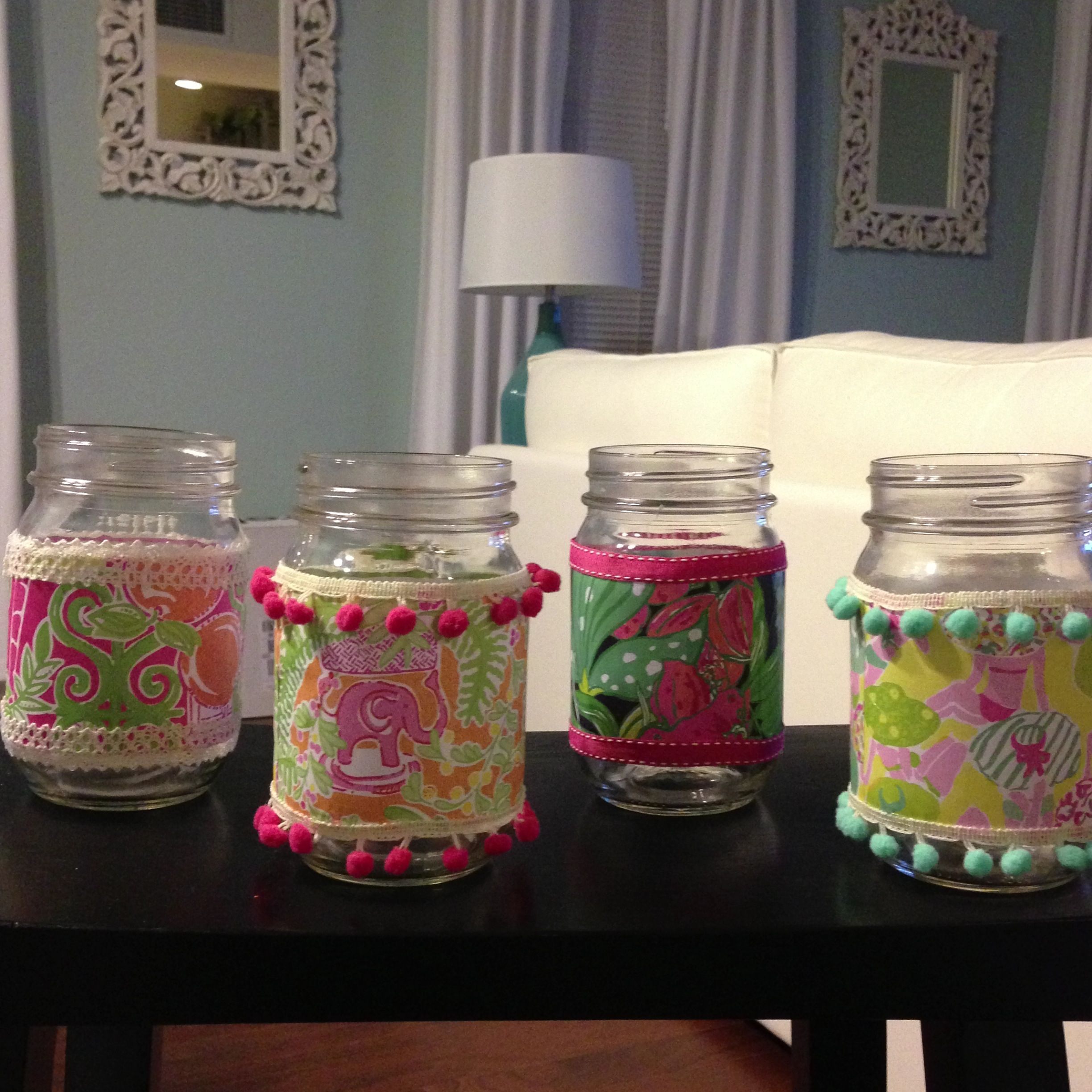 Lilly Pulitzer Inspired Mason Jars Using Lilly Agenda Paper And Modge  Podge. Iu0027m