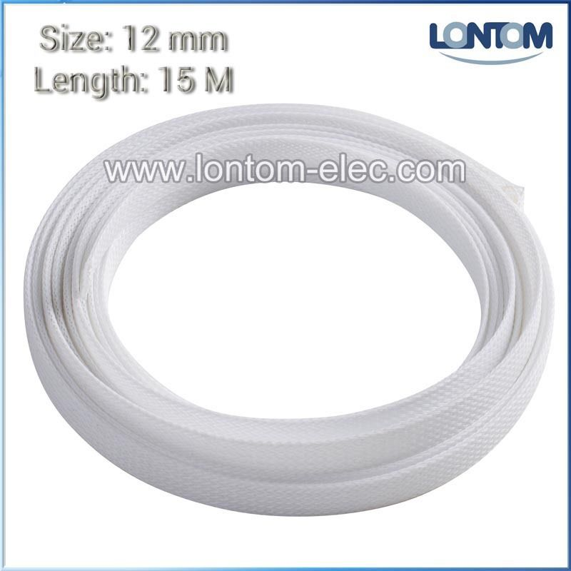 12mm 15M White PET Braided Expandable Sleeving Computer Cable Sleeve ...