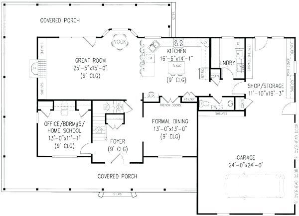 Home Plans With Wrap Around Porch 4 Bedroom One Story House Plans With Wrap Around Porch E Story Ranch House P Ranch House Plans Rustic House Plans House Plans