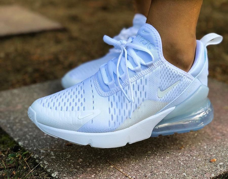 Nike Air Max 270 Triple White on feet #airmax270