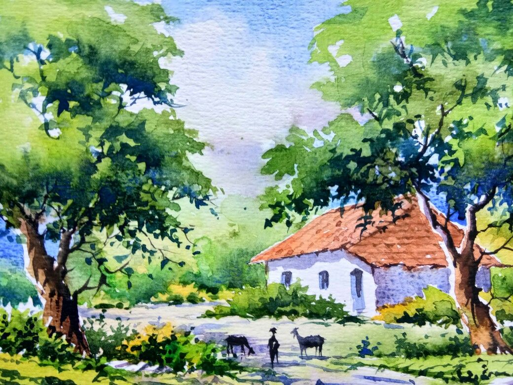 An Indian Landscape In Watercolor Watercolor Landscape Paintings