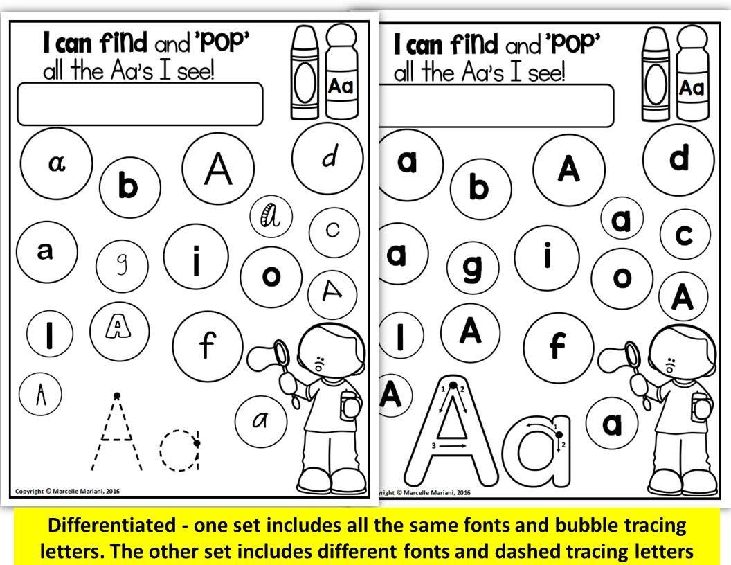 Free printable kindergarten alphabet recognition worksheets