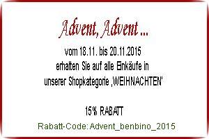 Advent | Weihnachten | Rabatt 15% | Adventskalender | Weihnachtsdeko | www.benbino.com/benbinoshop