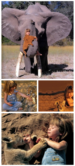 Born in Africa to French wildlife photographer parents, Tippi Degré had a most unusual childhood. The young girl grew up in the African desert and developed an uncommon bond with many untamed animals including a 28-year old African elephant named Abu, a leopard nicknamed J, lion cubs, giraffes, an Ostrich, a mongoose, crocodiles, a baby zebra, a cheetah, giant bullfrogs, and even a snake. Africa was her home for many years and Tippi became friends with the ferocious animals.