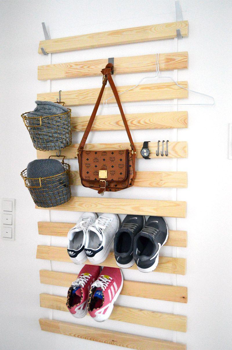 ohne schuhe mit mehr haken und k rben tolle aufbewahrung f r den flur ikea hack sultan. Black Bedroom Furniture Sets. Home Design Ideas