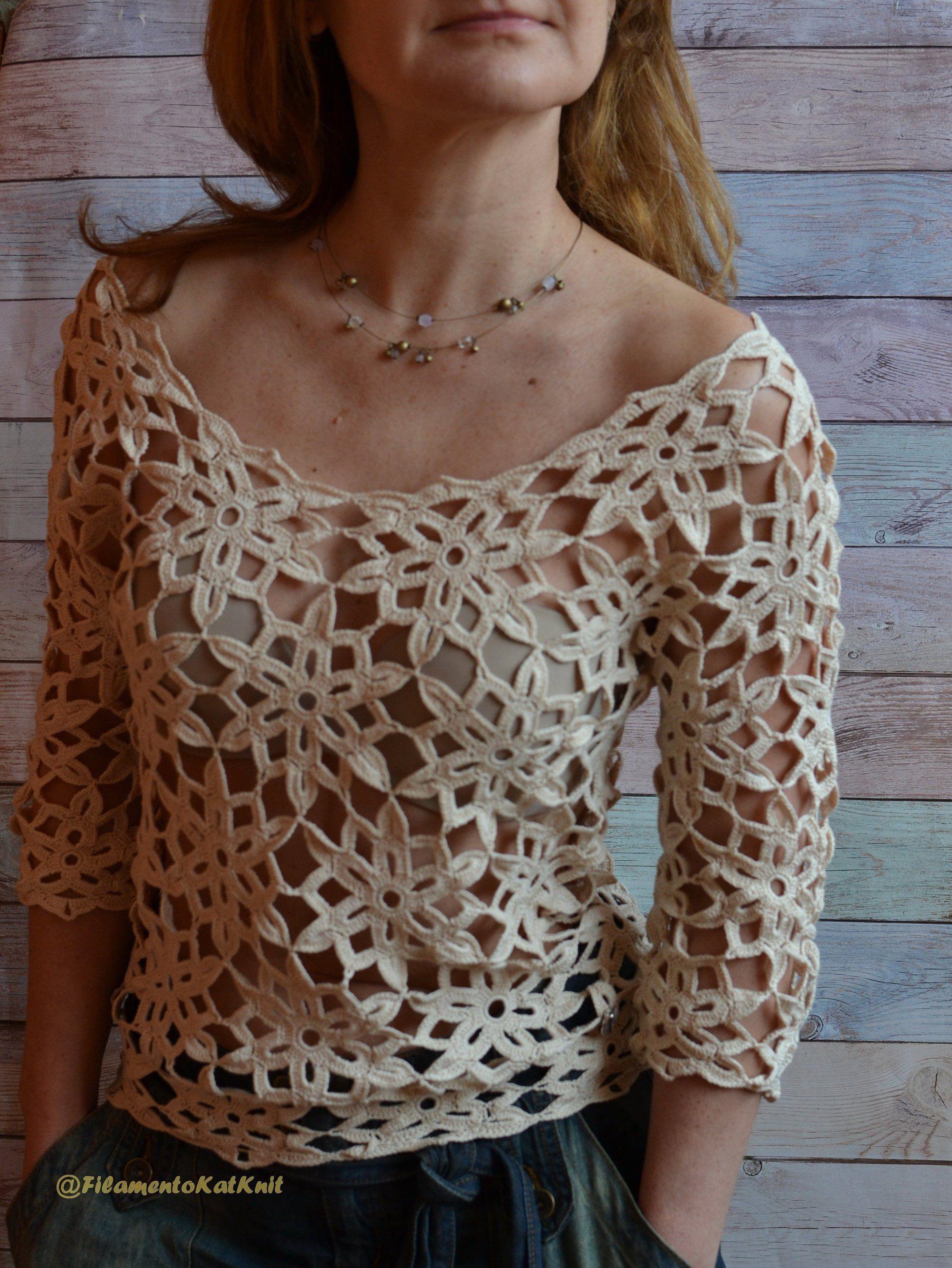 Uncinetto Estate.Uncinetto Estate Pizzo Cotone Top Manica 3 4 Stile Femminile Etsy Crochet Lace Top Crochet Blouse Pattern Cotton Lace Tops