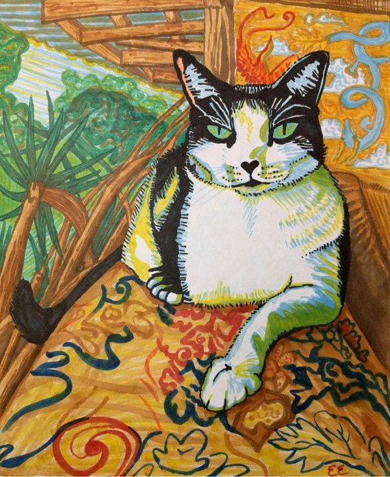 Cat Print, Hawaii Cat Print, Cat Portrait, Cat Drawing, Colorful Cat