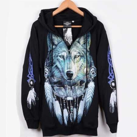 ed32255306 cool black 3D wolf hoodie for men fleece lined | 3d wolf hoodie for ...