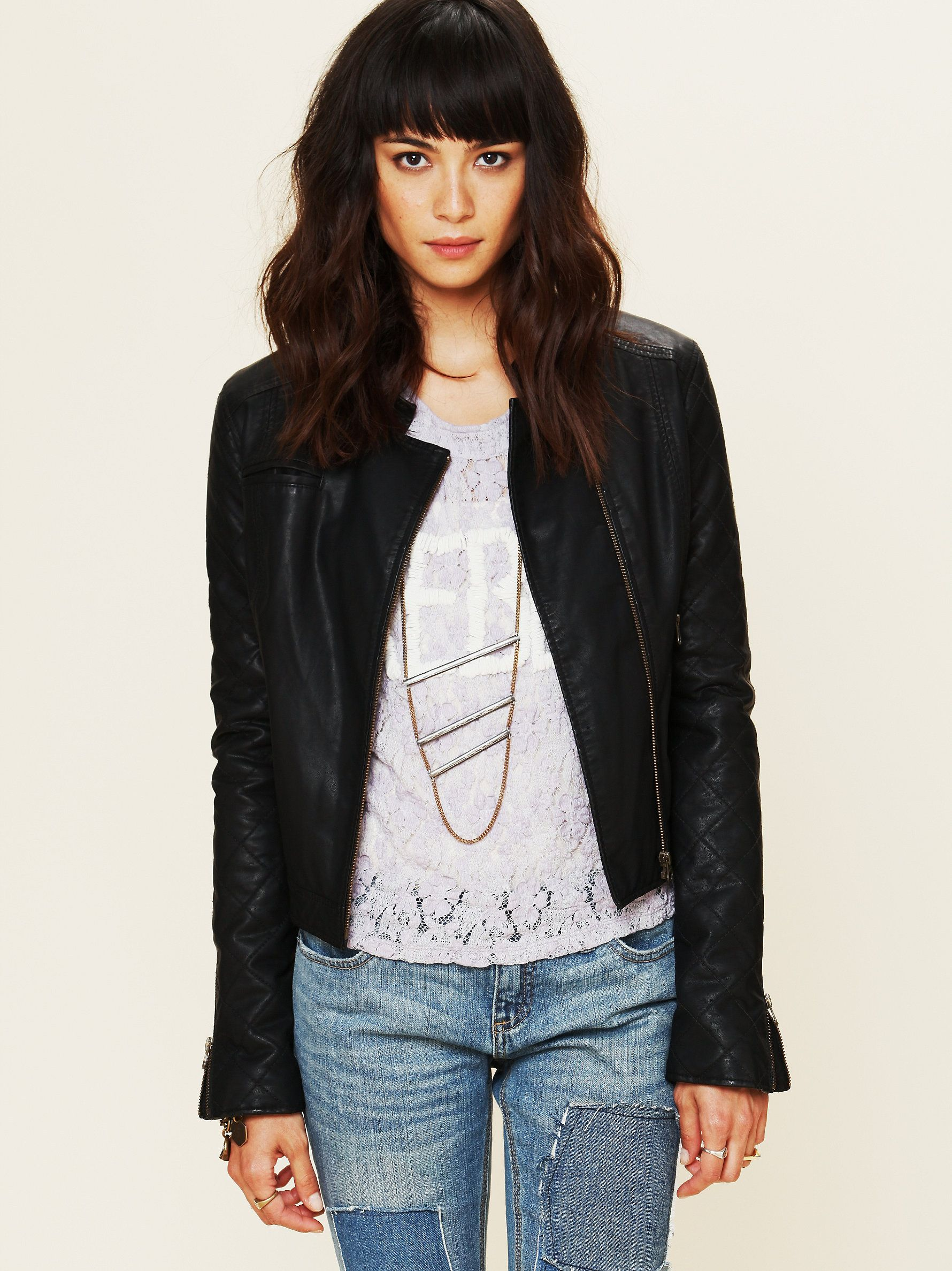 Free People Quilted Sleeve Vegan Leather Jacket At Free People Clothing Boutique 168 Vegan Leather Jacket Quilted Sleeves Leather Jacket