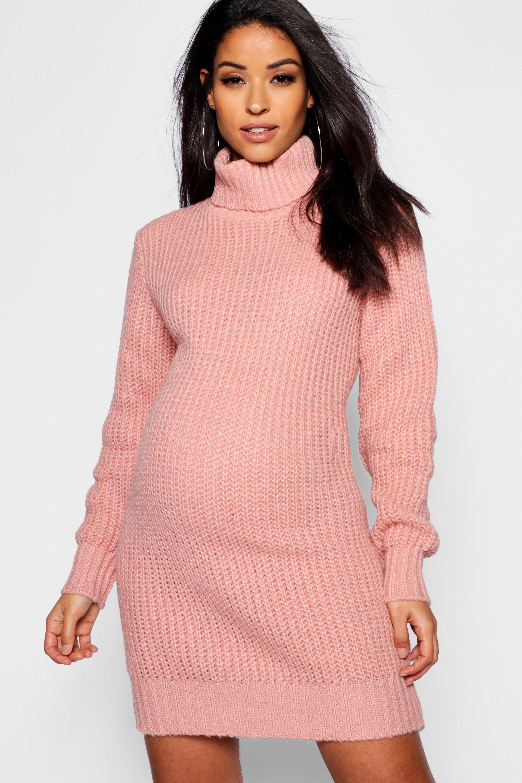 Maternity Soft Knit Turtleneck Sweater Dress Boohoo Sweater Dress Knit Turtleneck Sweater Turtle Neck Dress