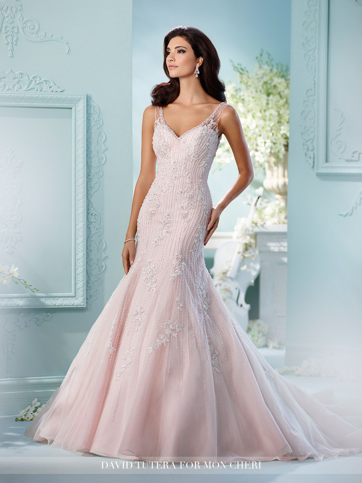 Hand-Beaded Embroidery on Tulle Trumpet Wedding Dress- 216234 Azure ...