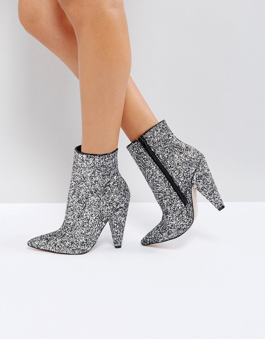 Boots, Heeled ankle boots, Silver ankle