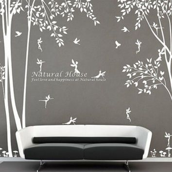 Nature Vinyl Forest Tree Wall Decal With Fairy Decal Baby Girl Fairy Forest  Wall Sticker For