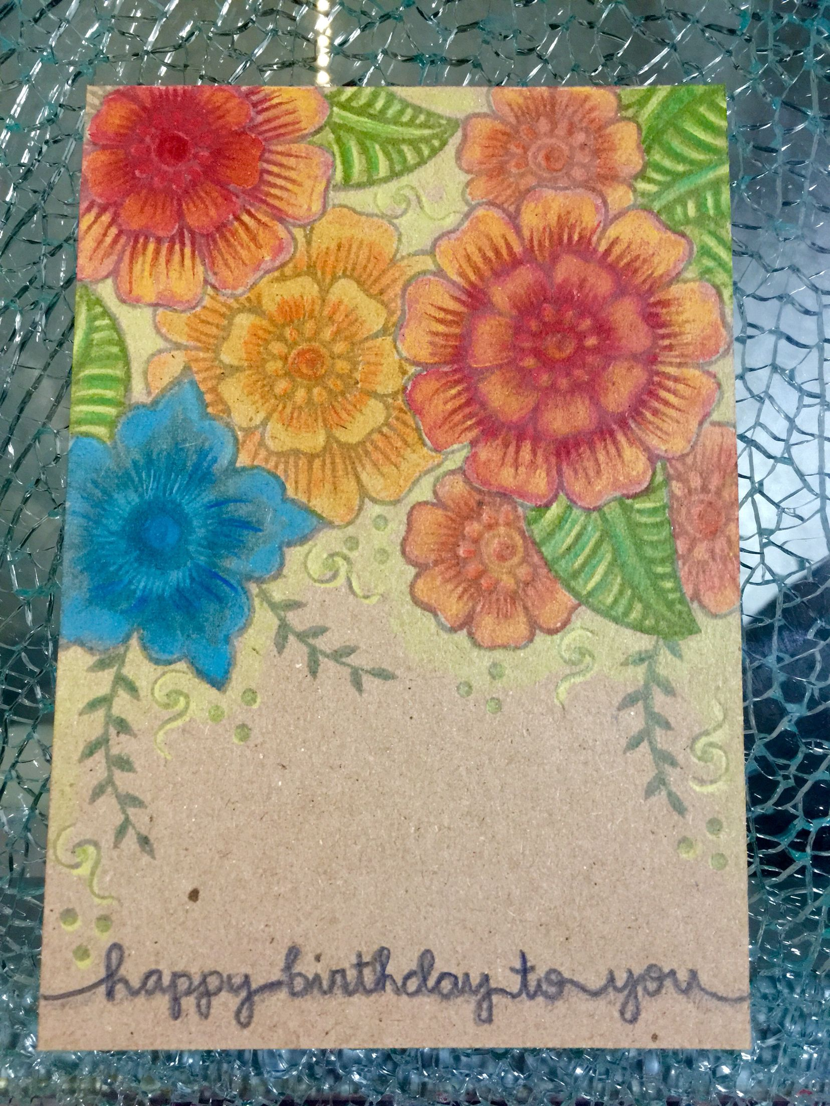 """A6-card, stamped with Altenew """"Hennah patterns"""", colored with ranger distress inks and Caran D'Ache Supracolor Soft Pencils; sentiment stamp is from lawnfawn"""