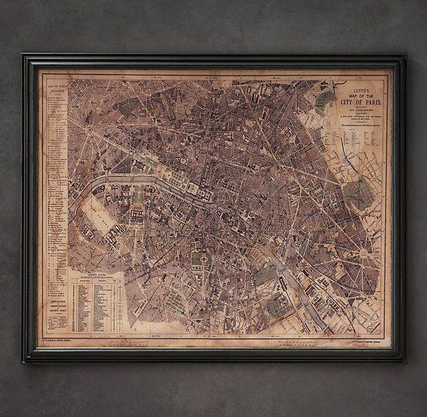 Circa 1883 Paris Map If Ever You Have A Spare 1295 Lying Around: Framed Map Of Paris At Slyspyder.com
