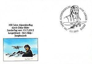 Sonderumschlag und Sonderstempel zur Alpenüberquerung Oskar Biders vor 100 Jahren.