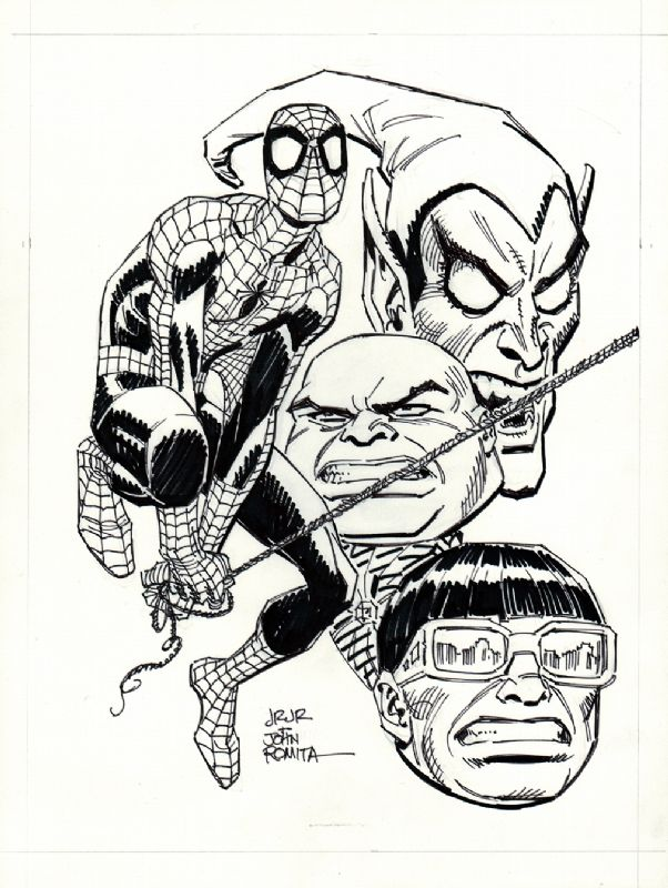 Spiderman And Villains By John Romita Sr And Jr John Romita Jr Spiderman Comic Art Spiderman Black Cat