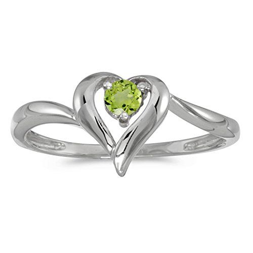 14k White Gold Round Peridot Heart Ring Size 85 Read more