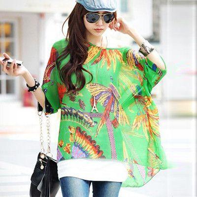 3fd2fb7e11439 2015 New Fashion Women Summer Chiffon Floral Dress Clothing Plus Size 4XL  5XL 6XL Women s Cute Dresses Batwing Tops Tees