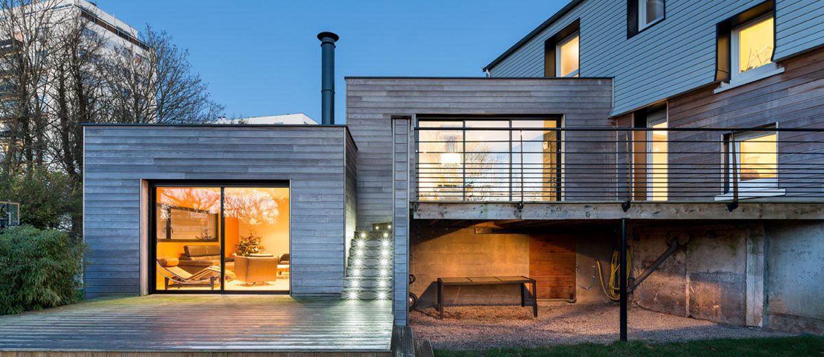 lextension bois contemporaine de morgane et sbastien brest extenbois l - Extension Maison En Hauteur