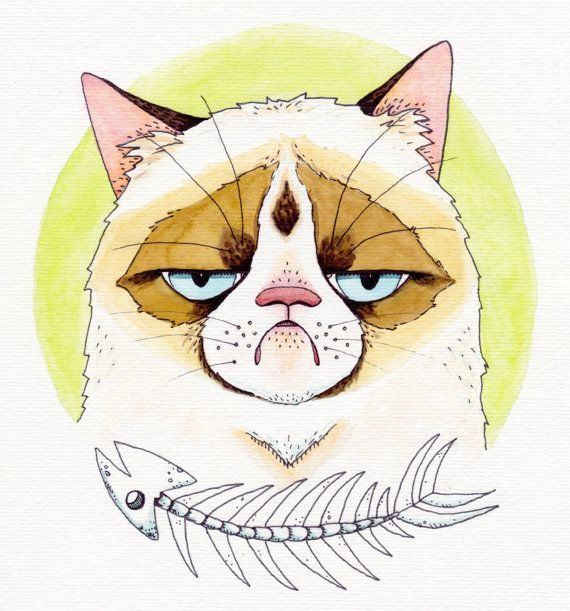 I couldnt ignore the adorable disgruntled-ness any longer. Grumpy Cat is just too inspirational. This is a print of my original 8x8 watercolor,